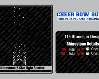 """3"""" Cheer Bow Light Scatter Rhinestone Strip 3"""" X 13"""" INSTANT FILE DOWNLOAD"""