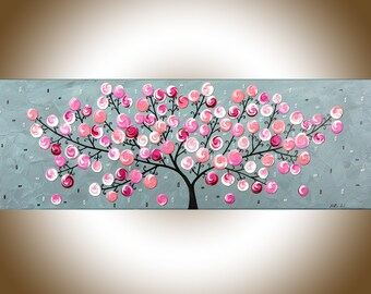 "36"" Pink grey abstract painting whimsical art nursery art abstract swirl tree painting wall art wall decor Impasto canvas art by qiqi"