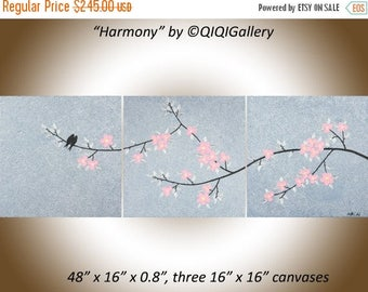 """48"""" pink silver black set of 3 wall art canvas original Acrylic BIRDS painting impasto palette knife gift for her """"Harmony"""" by QIQIGALLERY"""
