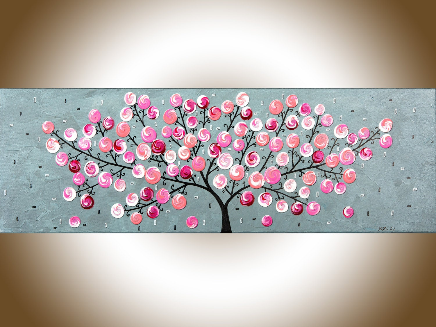 36 pink grey abstract painting whimsical art abstract for Cadre floral mural