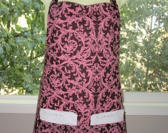 Aprons for Women - Womens Aprons - Pink Vines Scrolling