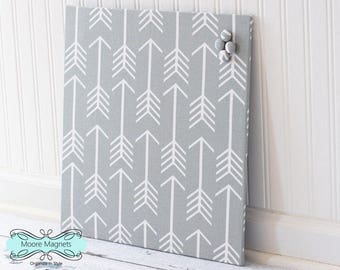 Wall Mount Magnet Board 16inx16in No Frame - Gray and White Arrows Fabric - Note Board Message Board Command Center Organization