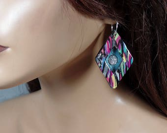 Polymer clay earrings with silver titanium druzy stones, multi-colored shadow-box, ooak