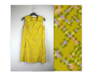 Vintage 60s Mod Dress XS mustard polished cotton abstract print