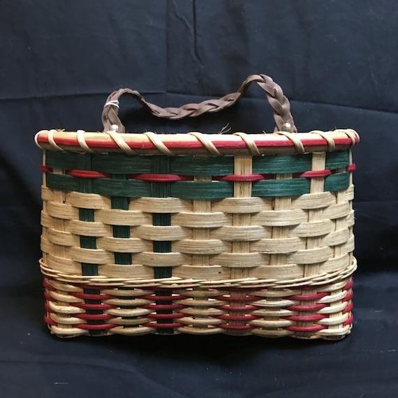 items similar to handwoven mail basket handmade wall basket card basket holiday card. Black Bedroom Furniture Sets. Home Design Ideas