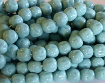Large Vintage Japanese Medium Blue Irregular Round Glass Beads 13mm (4)