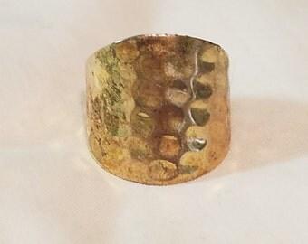VintageHammered gold plated sterling silver cigar ring size 8