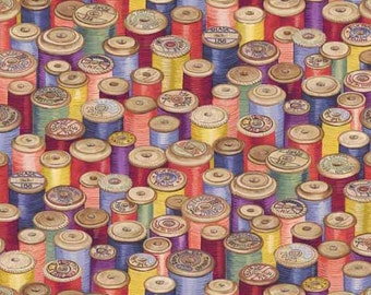 SEWING THREAD Multicolor Quilt Fabric - by the Yard, Half Yard, or Fat Quarter Fq Haberdashery by Makower UK