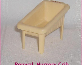 ON SALE   Nursery Crib Renwal Cream Color Vintage Hard Plastic Dollhouse Furniture