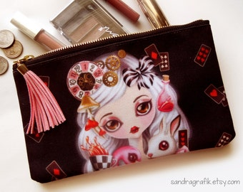 Alice in Wonderland Cosmetic Pouch - Makeup Bag, Medium Zippered Pouch