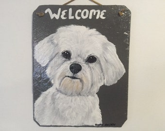 Maltese Dog Welcome Slate