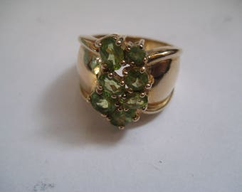 Beautiful Sterling Vermeil and Peridot Statement Ring Size 8.25