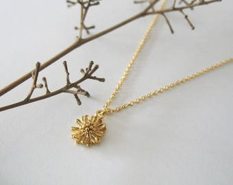 Delicate Flower Matte Gold Necklace, Tiny Flower Necklace, Minimalist Charm Necklace, Girls Jewelry, Nature Inspired Necklace - Tamar Bar