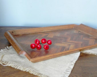 Vintage mid century serving display tray - parquet pattern wood tray - zig zag pattern with handles