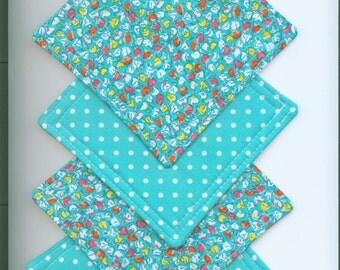 Mug Rug Set of 4, TURQUOISE- POLKA Dots,  Fabric Coasters, Handmade, Hostess Gift, FREE Shipping in USa