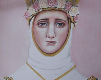 """Mary Mother of God under the Title of Our Lady of La Salette, 8""""X10"""" and 11""""X14"""" Prints on 110lb White Card Stock  Signed"""
