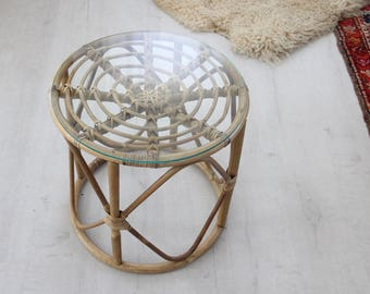 Franco Albini Style Rattan Side Table w/ Glass Top