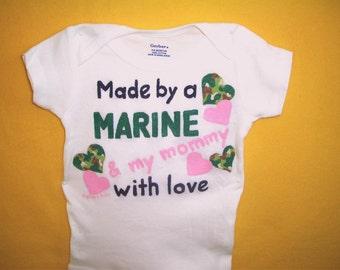 Baby Girl Marine Bodysuit, Marine Baby One Piece, Marine Daughter Bodysuit, Made by a Marine, Baby Girl Clothing