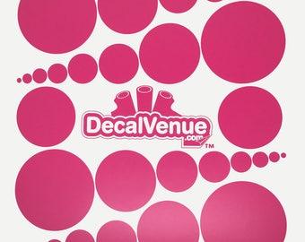 Hot Pink Polka Dot Circles Wall Decals - Various sizes - Mix and Match dots vinyl stickers
