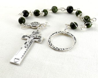 Irish Penal Rosary Dark Green Connemara Marble Celtic Knot An Paidrin Beag Single Decade Chaplet Wire Wrapped Unbreakable