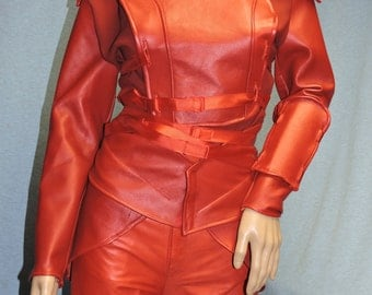 Custom Made Red Mockingjay Katniss genuine leather complete costume with armor and quiver from the Hunger Games