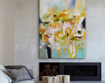 large floral abstract art, Abstract Painting on canvas, abstract landscape, huge acrylic floral painting, blue and orange painting, flowers