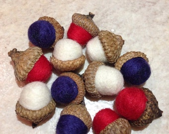 Needle felted acorns in red, white and blue