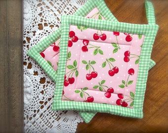 Cherry Pot Holders~Pot Holders~Pink & Green Gingham~Farm House Kitchen~Fruit Pot Holders