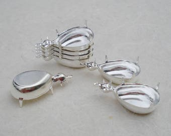 12 Silver Plated 18x13 Pear/Teardrop & 20ss Round 1 Ring Closed Back Rhinestone Prong Settings