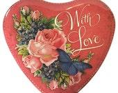 England Large Heart Tin Nostalgic Old Fashioned Design Style For Storage Or Filling Box