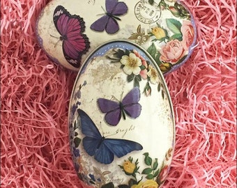 England Tin Metal Easter Egg Box Butterflies & Roses 4-1/4 Inch Nostalgic Craft Storage  TEG 44