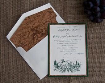 Vineyard Winery Wedding Pocket Card Invitation Deposit