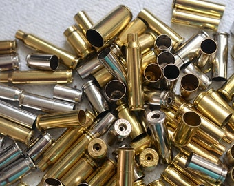 Wholesale Lot of 100 assorted bullet shell casings with a single hole on the end for jewelry and craft making. Bullet pendants...Lot 54
