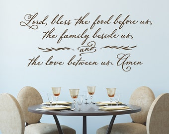 Beautiful Lord, Bless The Food Before Us   Wall Decal   Christian Wall Decor   Prayer