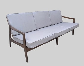 25% SALE NEW restored danish modern walnut sofa from Otto Gerdau NYC