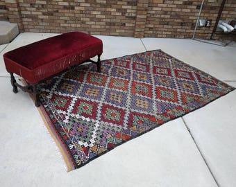 15% SALE 8 x 5 vintage tribal TURKISH wool handwoven KILIM area rug