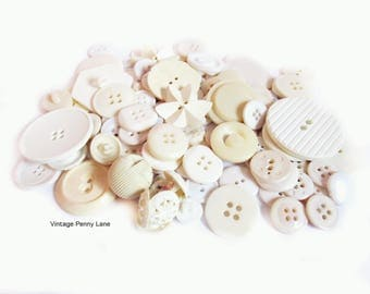 Vintage White / Beige / Ivory Plastic Button Lot of 100