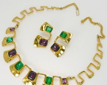 Vintage Modernist Gold Tone Amethyst Rhinestone Necklace & Earrings Statement Jewelry