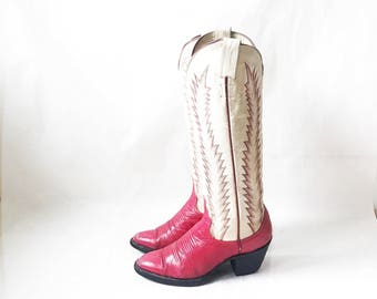 Vintage 70's Two Tone Pink Boho Distressed Cowboy Boots. Size 7