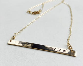 Gold Bar Necklace, Personalized Bar Necklace, Silver Bar Necklace, Layering Necklace, Large Bar Necklace