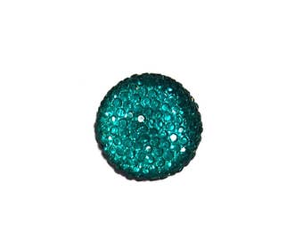 18mm round and sparkly cabochon in Teal Green