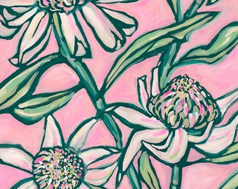 Pink Waratah Painting Archival Wall Art Print botanical illustration Home Decor