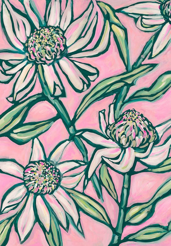 Pink Waratah Painting Archival Art Print Home Decor