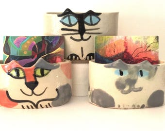 desk business card holder pottery cat: for square or vertical oriented cards ceramic decor office feline theme pet resort designer