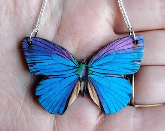 Purple Butterfly Necklace, Blue Butterfly Necklace, Wood Pendant, Illustration Jewelry, Woodland, Animal Necklace