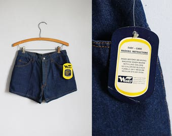 1970s dark blue denim high waisted deadstock jean shorts nwt - xs / s - x-small - small