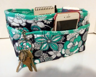 "Purse Organizer Insert/Enclosed Bottom  4"" Depth/ Navy and Teal"