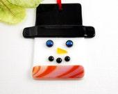 Fused Glass Snowman Ornament - Glass Snowman Christmas Ornament - Snowman Head with an Orange Scarf - Glass Christmas Ornament
