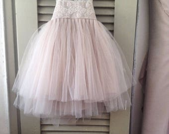Blush Orchid French lace and silk tulle dress for baby girl Flower girl dress blush princess dress tutu dress