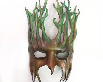 "Tree Leather Mask  greenman forest green man Ent Groot Treebeard about 11 1/2"" tall"